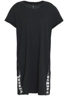 Versus Versace Woman Printed Mesh-trimmed Cotton-jersey Mini Dress Black
