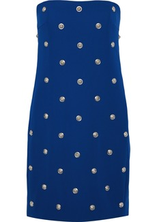 Versus Versace Woman Strapless Button-embellished Stretch-crepe Mini Dress Cobalt Blue