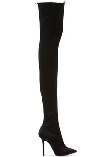 Vetements 110mm Thigh High Stretch Satin Boots