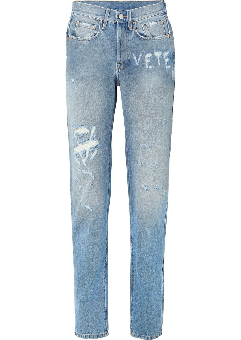 Vetements Distressed High-rise Straight-leg Jeans
