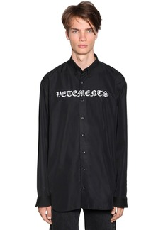 Vetements Gothic Logo Embroidered Poplin Shirt
