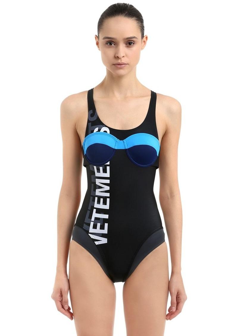 Vetements Logo Printed Lycra One Piece Swimsuit