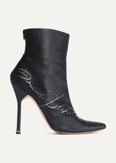 Vetements Manolo Blahnik Printed Satin Ankle Boots