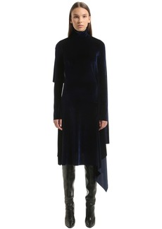 Vetements Open Back Panel Velvet Midi Dress
