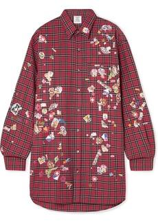 Vetements Oversized Appliquéd Checked Cotton Shirt