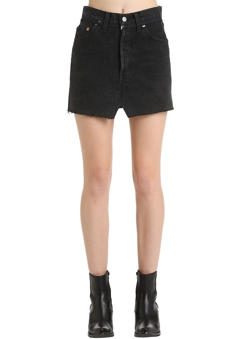 Vetements Raw Cut Cotton Denim Mini Skirt