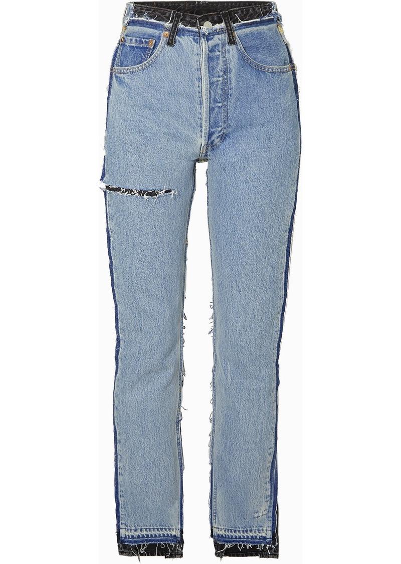 Vetements Reworked Distressed High-rise Slim-leg Jeans