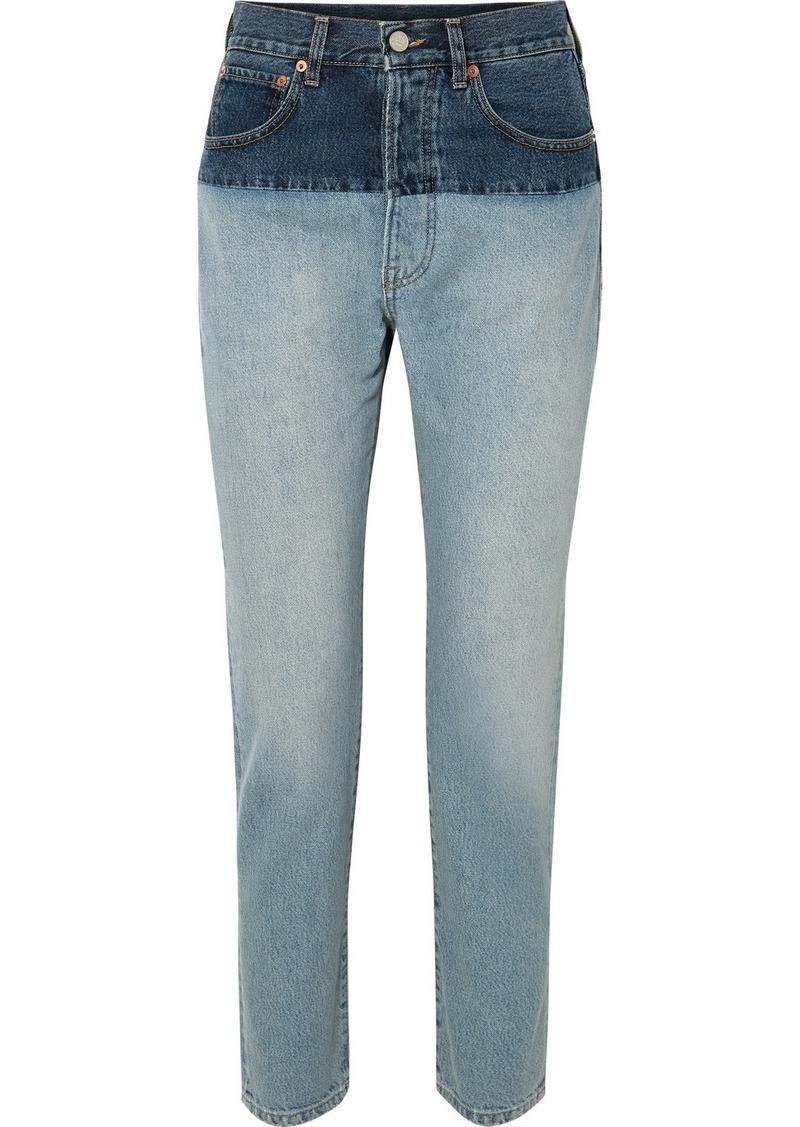 Vetements Split Two-tone High-rise Straight-leg Jeans