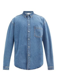 Vetements Back logo-print cotton-denim shirt