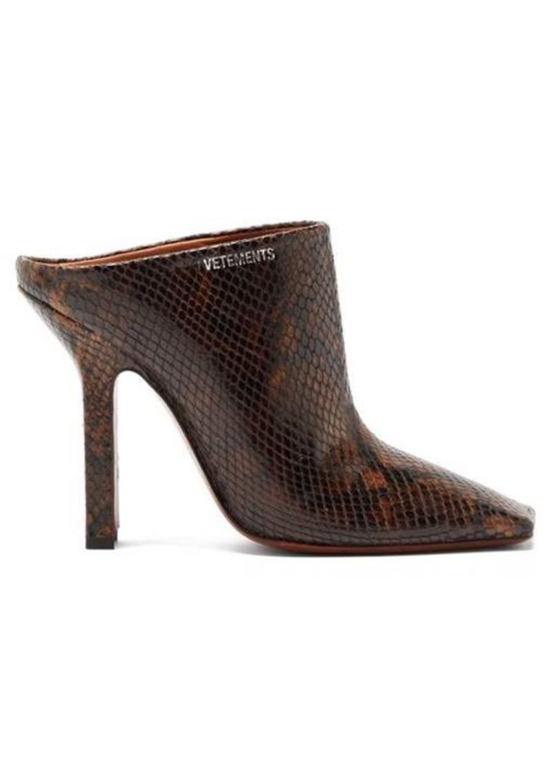 Vetements Boomerang python-effect leather mules