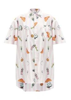 Vetements Breakfast-print striped cotton-poplin shirt