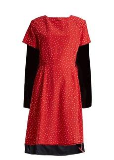 Vetements Contrast-panel polka-dot silk dress