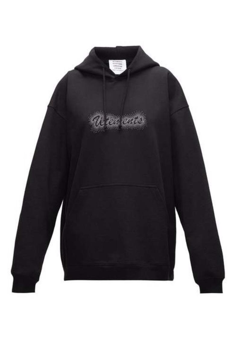Vetements Crystal-logo jersey hooded sweatshirt
