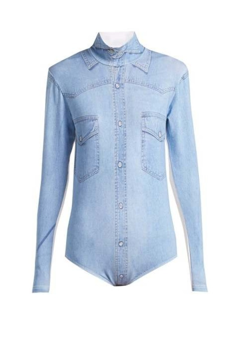 Vetements Denim shirt-print bodysuit