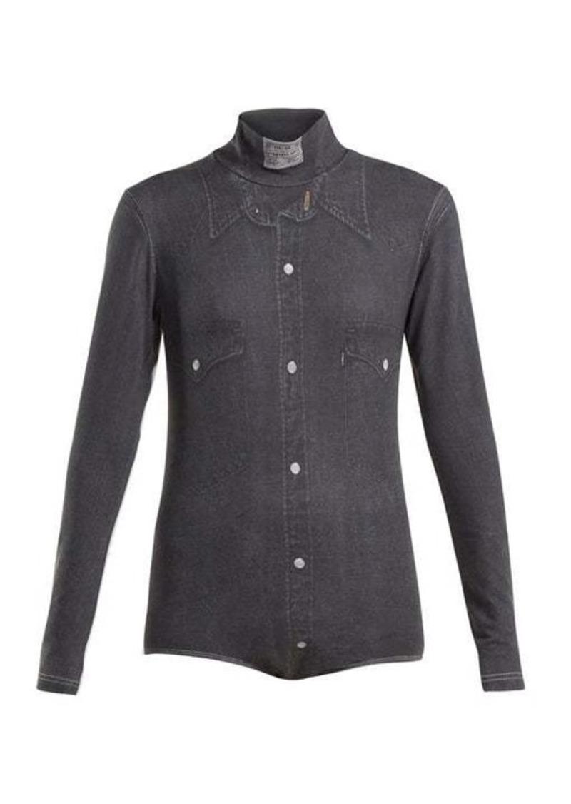 Vetements Denim shirt-print high-neck bodysuit