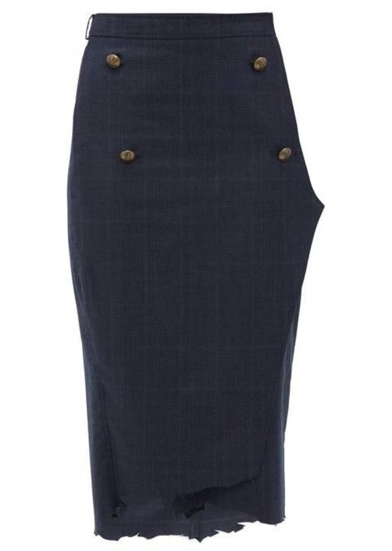 Vetements Distressed-hem checked wool pencil skirt
