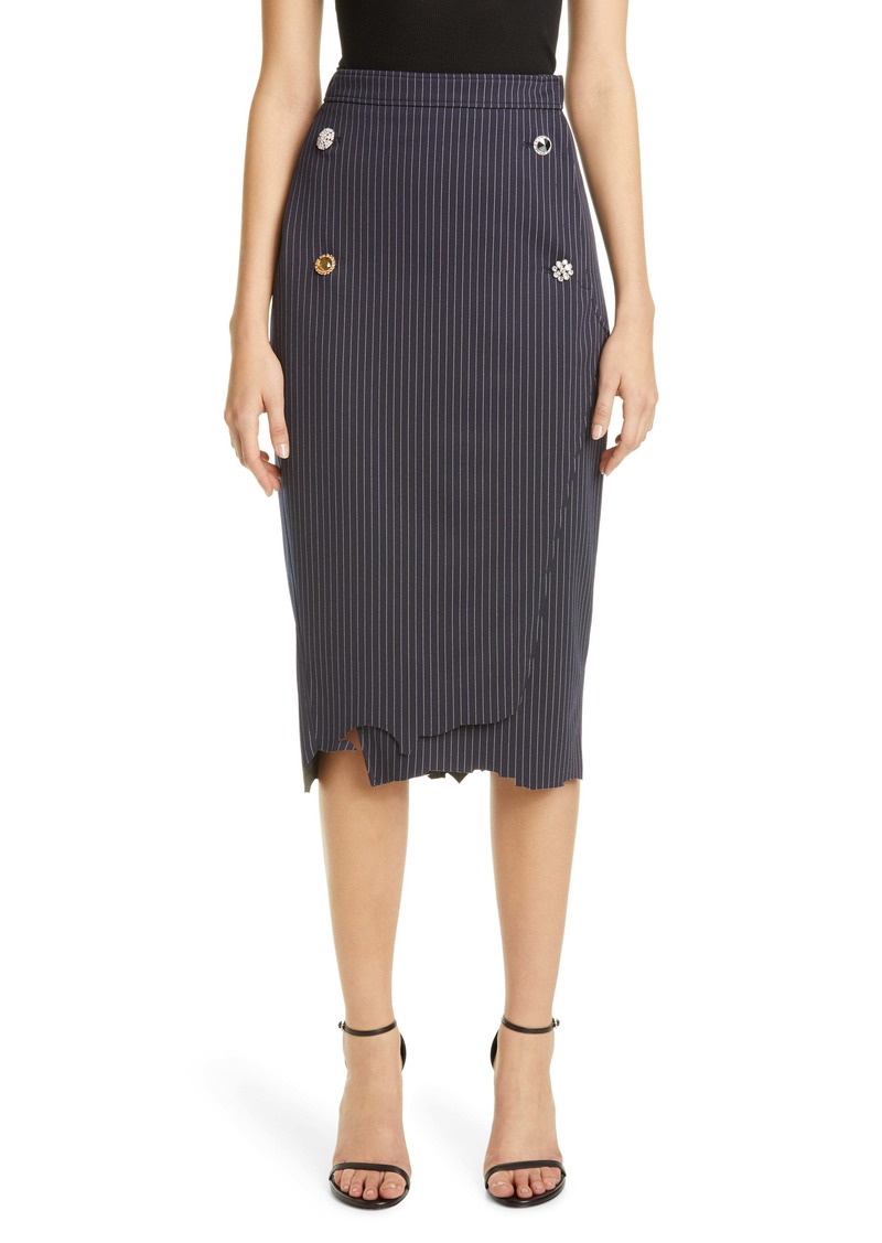 Vetements Distressed Pinstripe Pencil Skirt