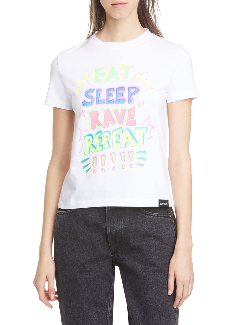 Vetements Eat Sleep Rave Graphic Tee