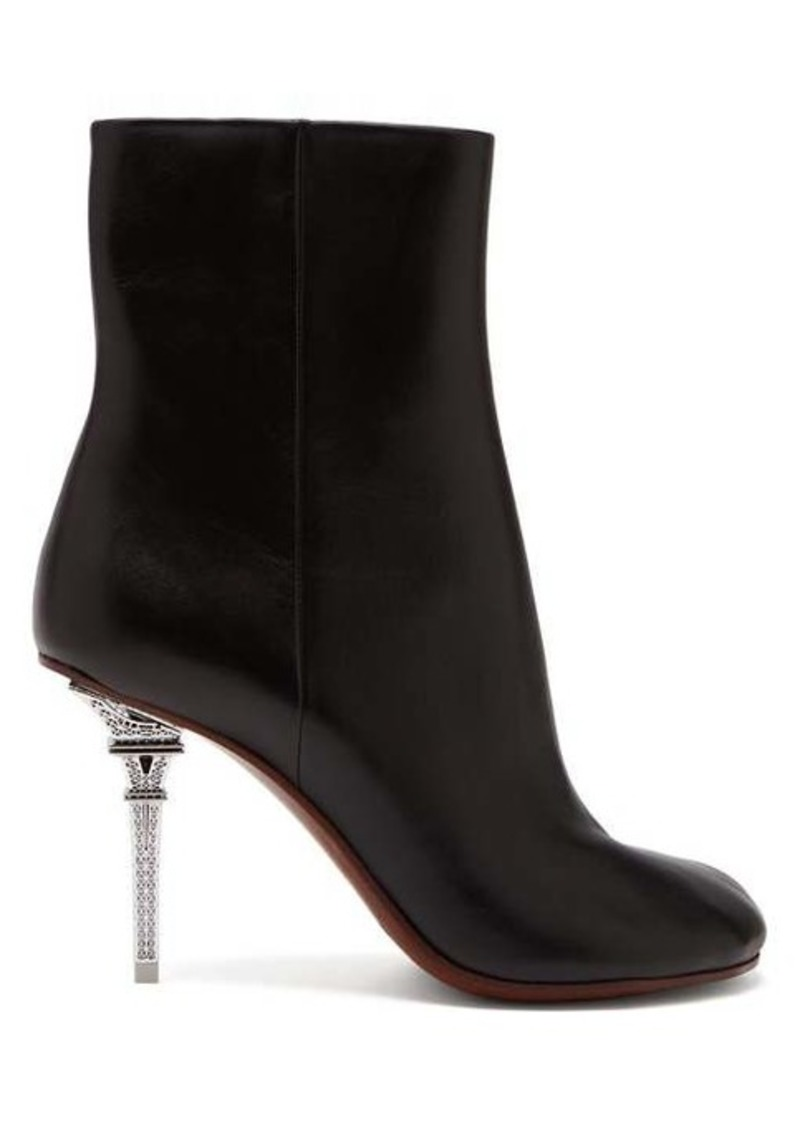 Vetements Eiffel tower heel leather ankle boots