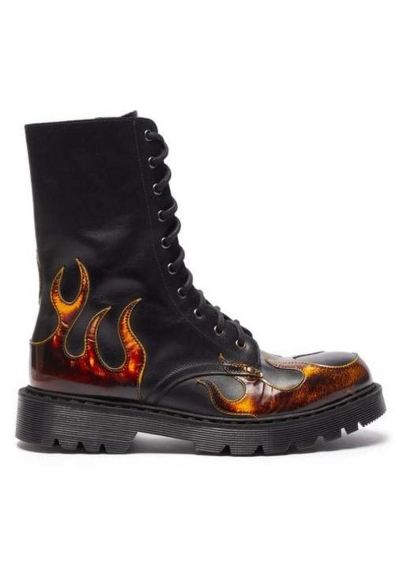 Vetements Flame-appliqué leather boots