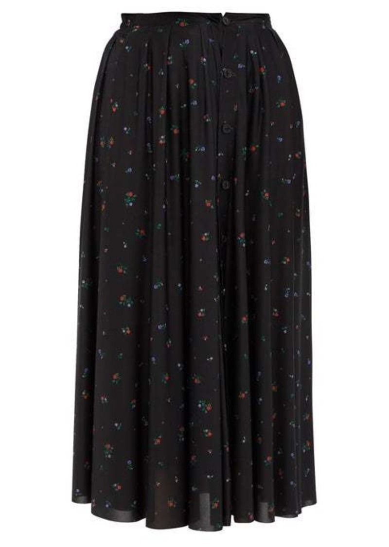 Vetements Floral-print crepe midi skirt