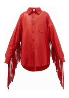 Vetements Fringed-sleeve leather shirt jacket