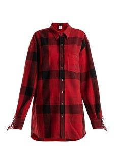 Vetements Fringed-sleeve oversized wool-blend shirt