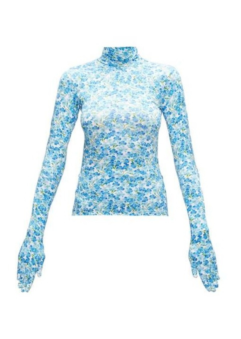 Vetements Glove-sleeved floral-print jersey top