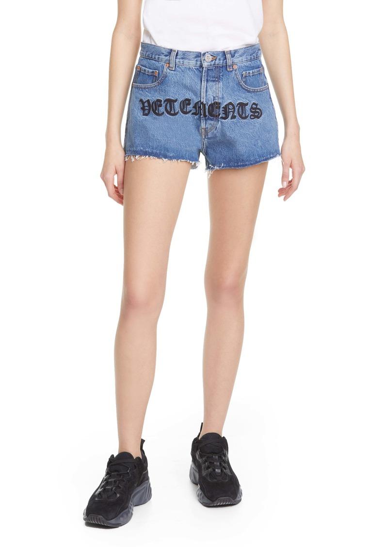 Vetements Gothic Logo Denim Shorts