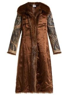 Vetements Inside-out belted fur coat