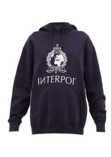 Vetements Interpol-print cotton hooded sweatshirt