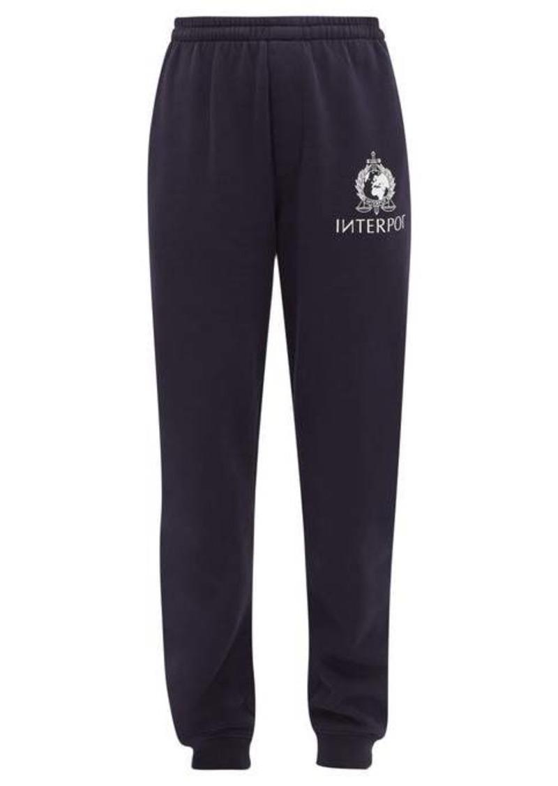 Vetements Interpol-print cotton-blend jersey track pants