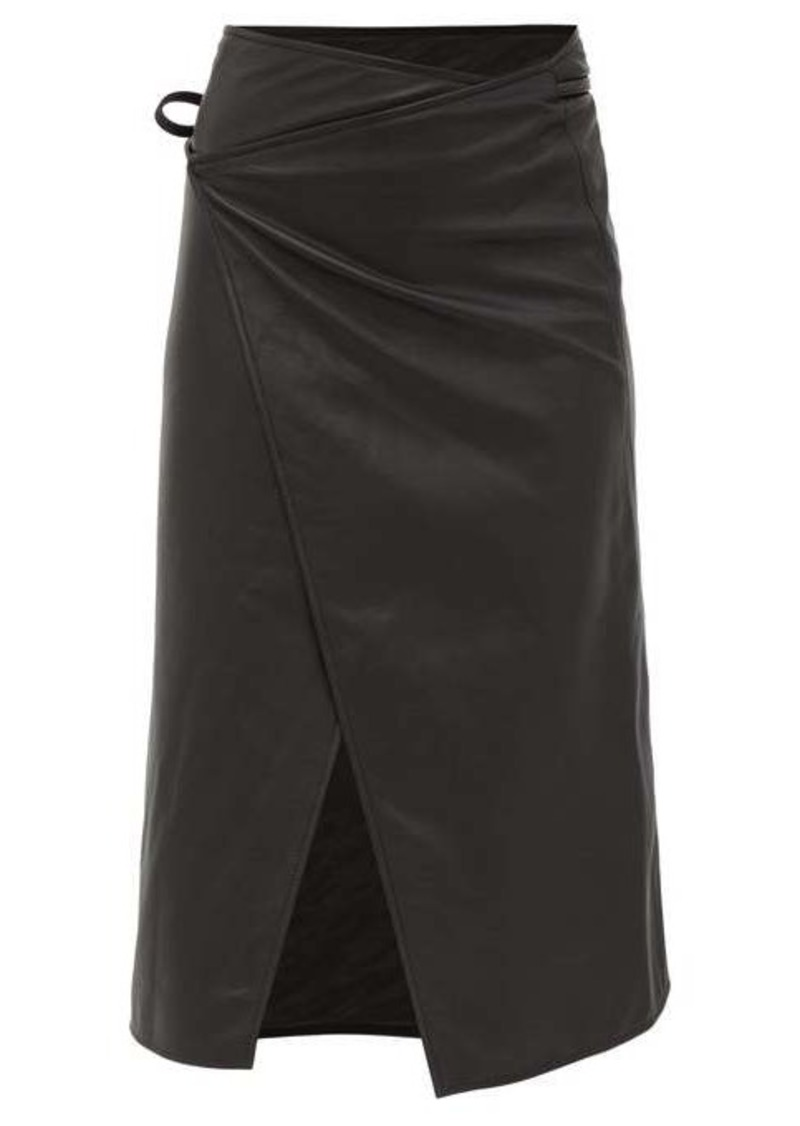 Vetements Logo-embossed leather midi wrap skirt