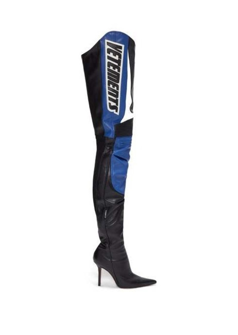 Vetements Logo-appliqué over-the-knee leather boots