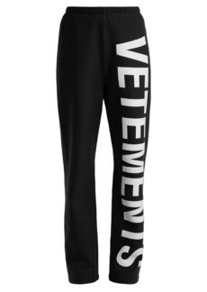 Vetements Logo cotton-jersey track pants