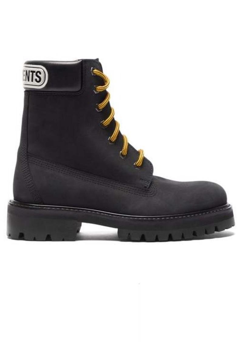 Vetements Logo-debossed nubuck ankle boots