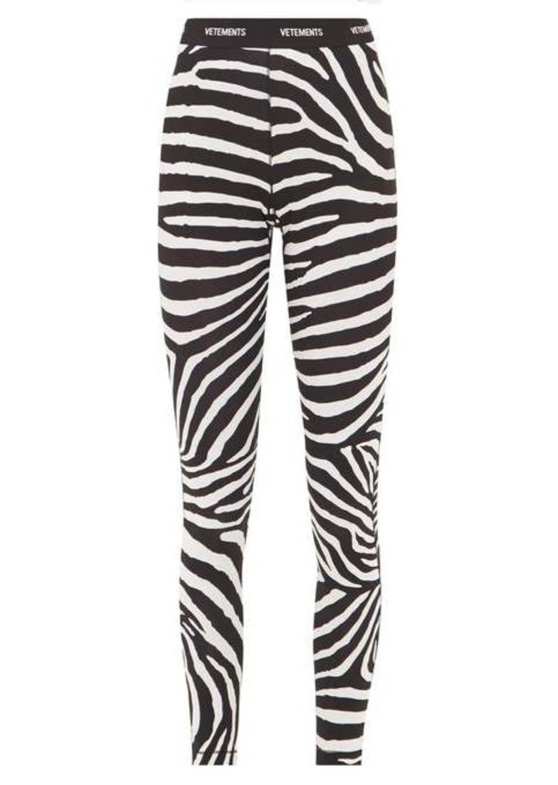 Vetements Logo-waistband zebra-print leggings