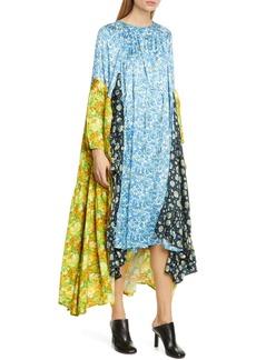 Vetements Mixed Floral Print Long Sleeve Midi Dress