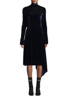 Vetements Mock-Neck Velvet Dress w/Open Back