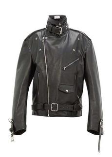 Vetements Oversized buckled leather jacket