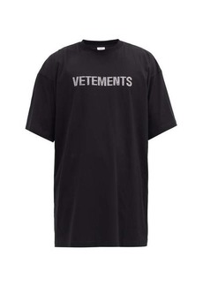 Vetements Oversized crystal-embellished cotton-blend T-shirt