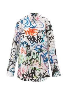 Vetements Oversized graffiti-print cotton-poplin shirt