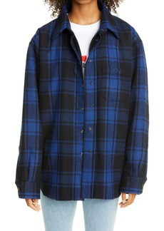 Vetements Padded Plaid Wool Blend Overshirt