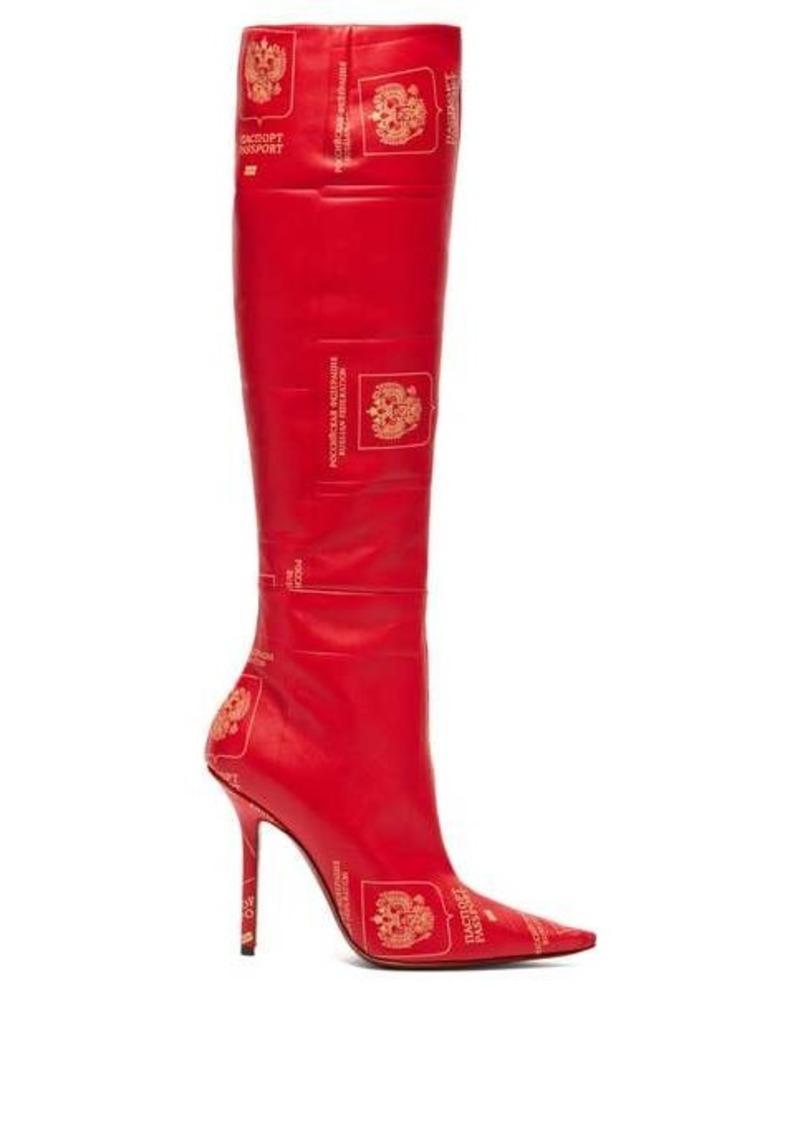 Vetements Passport-print knee-high leather boots
