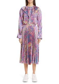 Vetements Plissé Long Sleeve Midi Dress