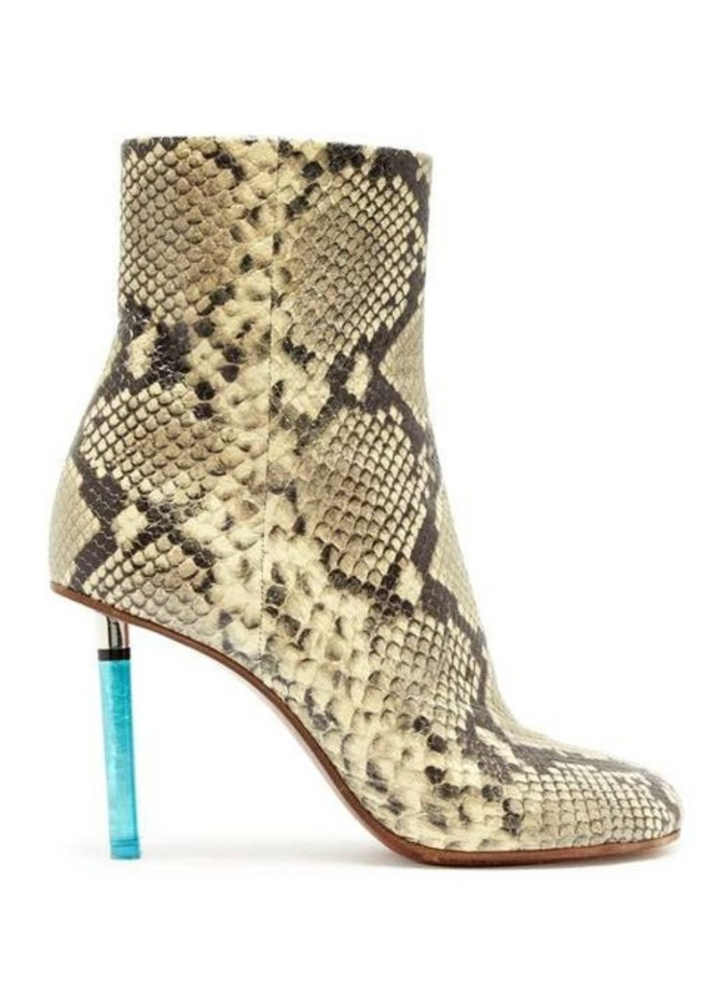 Vetements Python-effect lighter-heel leather ankle boots