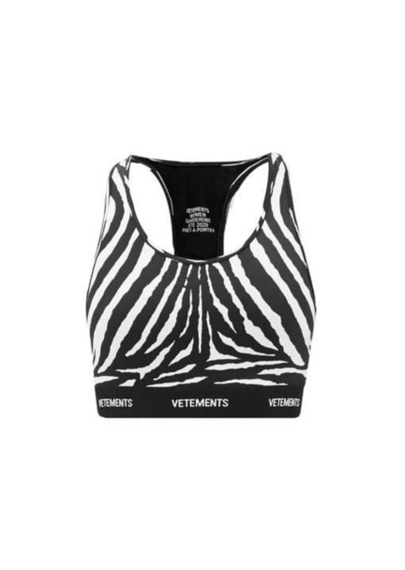Vetements Racerback zebra-print jersey cropped top