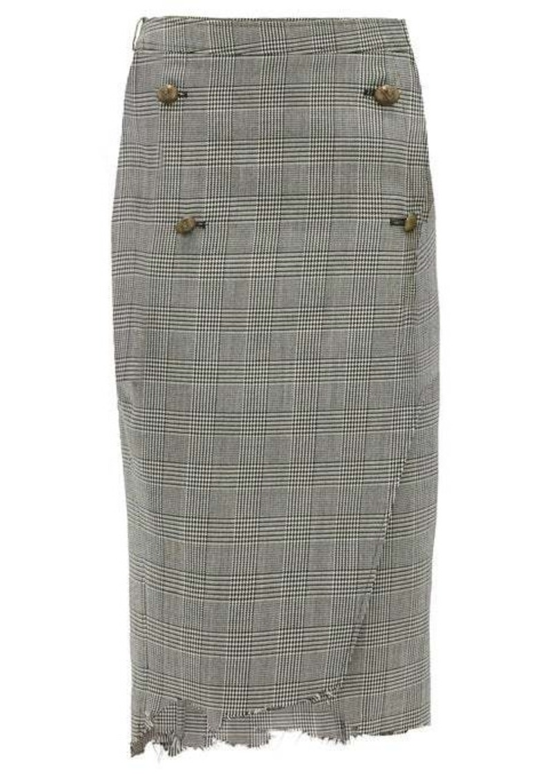 Vetements Raw-edge Prince of Wales-checked pencil skirt