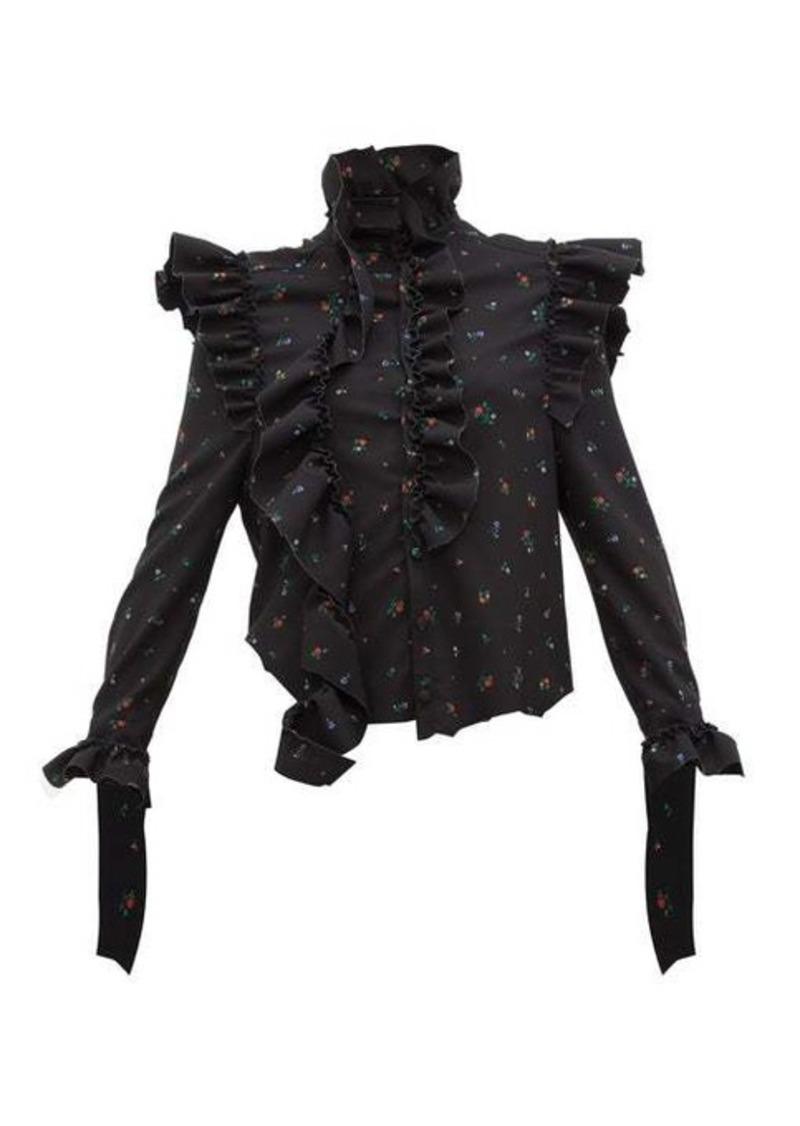 Vetements Ruffle-trim floral-print blouse