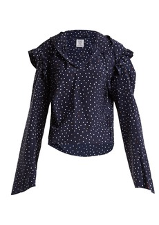 Vetements Ruffle-trimmed polka-dot silk hooded blouse